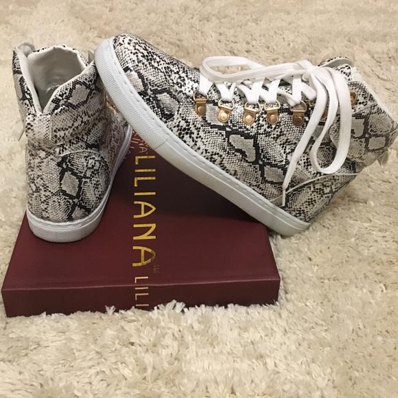 Shoes   Snakeskin Hightop Sneakers